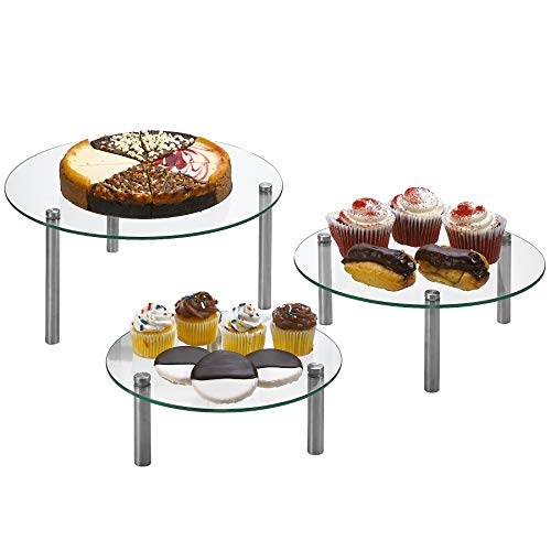 """3 Tier Round Tempered Glass Display Stand 9, 11, 13"""" for Cake, Cupcakes, Desserts, Bakery, Appetizers - Set of 3 Glass Retail Display Raiser."""