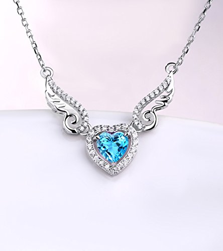HXZZ Fine Jewelry Women Gifts 925 Sterling Silver Natural Gemstone Swiss Blue Topaz Love Heart Angel Wings Pendant Necklace
