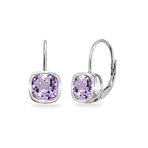 Sterling Silver Amethyst 6x6mm Cushion-Cut Bezel-Set Dainty Leverback Earrings for Women Teen Girls
