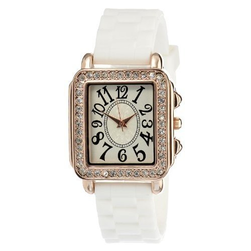 FMD Beige Dial Crystal Bezel SS White Silicone Quartz Ladies Watch FMDCT401 - Beige Dial Rubber Strap