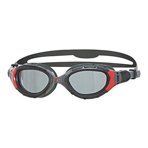 - Zoggs Predator Flex Polarized 2.0 Swimming Goggles No Leaking Anti Fog UV Protection Triathlon Black-Red/Smoke