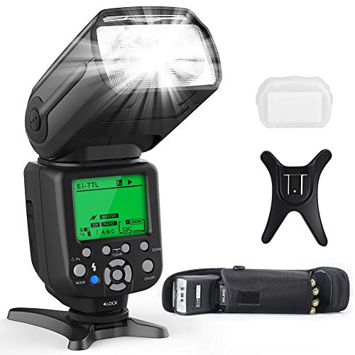 RALENO Flash Speedlite for Canon Nikon DLSR Cameras, E-TTL & i-TTL Dual Mode 1/8000 HSS Flash Speedlight GN58 with LCD Display Standard Hot Shoe Professional Flash kit