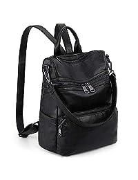 LARGE SIZE-UTO Women Backpack Purse PU Washed Leather Ladies Rucksack Shoulder Bag Ver2 CA