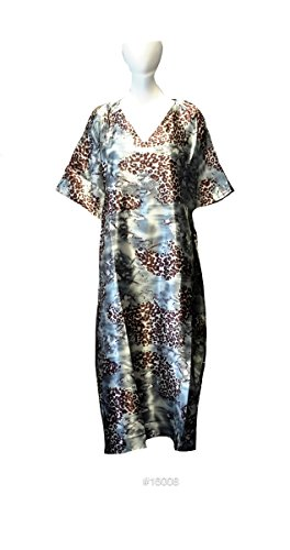 Damen 100% Polyester Woven Printed Silky Satin Long Kaftan. One Size Fit UK 10-32