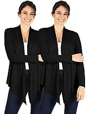 Simlu Womens Open Drape Cardigan Reg and Plus Size Cardigan Sweater Long Sleeves - USA
