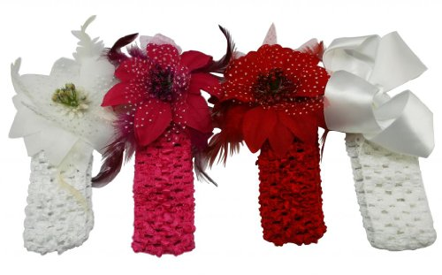 """Generic Children's Assorted Flower Headband With Soft Stretch Crochet And Alligator Clip(Pack Of 4) Size:11""""X4.5""""X1"""""""