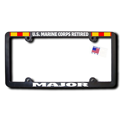 - US Marine Corps Retired MAJOR License Frame w/Reflective Text & Expeditionary Ribbons