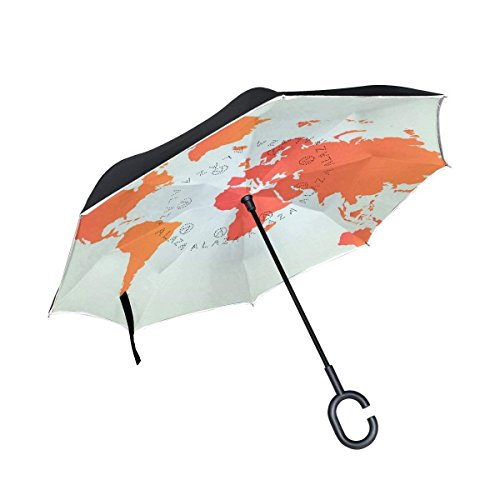 All Agree Abstract Orange World Map Inverted Umbrella Double Layer Windproof Uv Protection Compact Car Reverse Umbrella