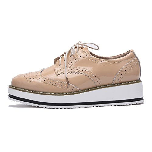 Moonwalker Zapatos con Cordones de Cuero Mujer Oxford Cuña Beige Brillante