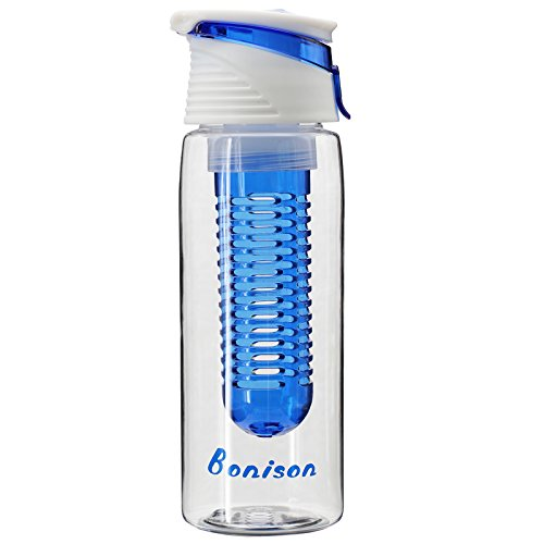 Big Sales- Bonison New Stylish Tritan Infuser Watertight Safe Locking Flip Top Lid Water Bottle Folded Carrying Handle (23 oz Blue)