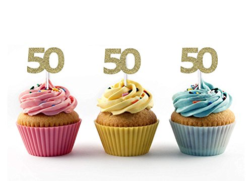 36pcs Golden Silver Black Number 50 Cupcake Toppers 50th Birthday Celebrating Party Decors by YIXIKJ (Image #1)