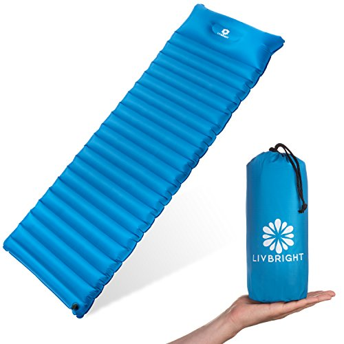 Price comparison product image LivBright Lightweight Sleeping Pad for Camping, Backpacking, Hiking - Ultralight and Compact Inflatable Air Mattress Pads - Thick and Durable Design with Built-in Pillow for Indoor and Outdoor Use