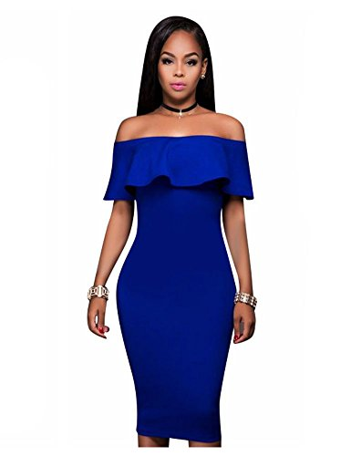 Women Sexy Off The Shoulder Ruffle Slim Fit Bodycon Cocktail Party Midi Dress Royal Blue L