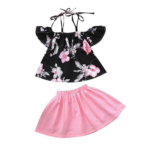 Efaster Toddler Baby Girls Flower Clothes, 2pcs Toddler Baby Kids Girls Clothes Floral Print Tops+Skirt Set Outfits