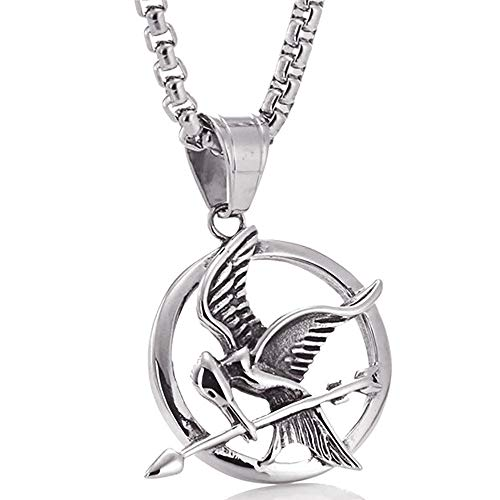 (ATDMEI The Hunger Games Mockingjay Pendant Necklace for Mens Women Stainless Steel Vintge Gothic Jewelry)