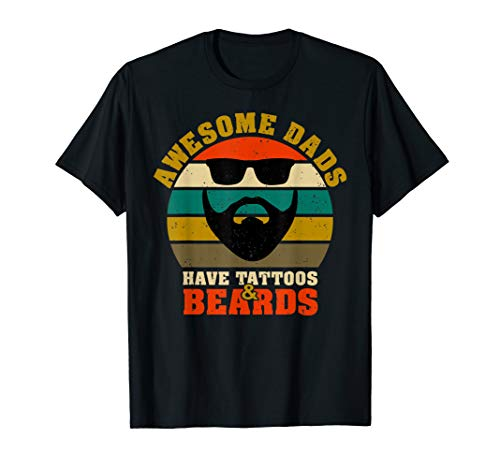 Awesome Dads have Tattoos And Beards Vintage father's day T-Shirt ()