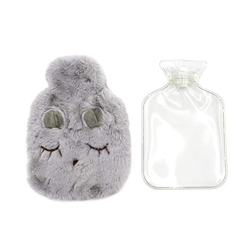 Rubber Hot Water Bottle with Plush Fleece Cover, Soft Warm Water Bag Hand Feet Belly Warmer ()