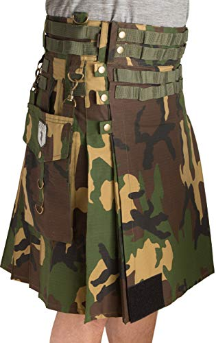 Damn Near Kilt 'Em Men's Tactical Utility Kilt Medium Woodland ()