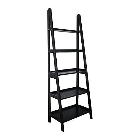 MINTRA 5 Tier A-Frame Ladder Shelf, Black