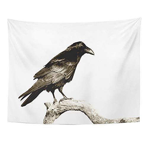 Emvency Tapestry Wall Hanging Black Birds Perched Common Raven Corvus Corax White Halloween Crow Silhouette 50
