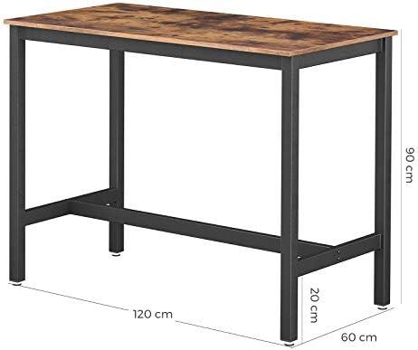 VASAGLE Tavolo da Pranzo per 4 Persone Struttura in Metallo Cucina Stile Industriale Tavolo da Cucina 120 x 75 x 75 cm Marrone Vintage e Nero KDT076B01 per Sala da Pranzo
