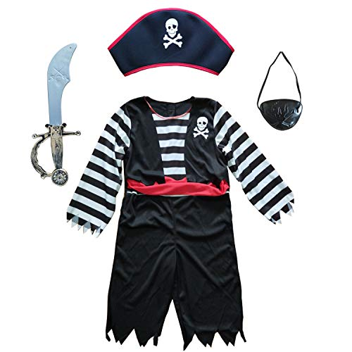 Children's Pirate Costume for Toddlers Boys Girls with All in one Pirate Suit,Cutlass,Eyepatch (Toddler3-4, White/Black) -