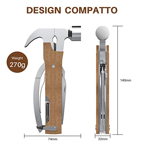 Multi-Purpose Hammer,KUSONKEY 12 in 1 Mini Portable Hammer with Nail Puller,Wire Cutter,Knives,Nail File,Plier,Screwdrivers,Saw,Bottle Opener,Wooden Gift for Him,Men,Father,Husband,Boyfriend