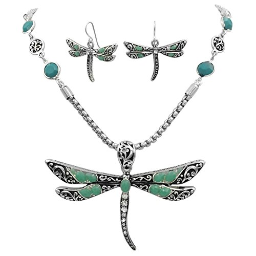 Gypsy Jewels Large Animal Nature Theme Silver Tone Statement Necklace & Earring Set (Blue Dot ()
