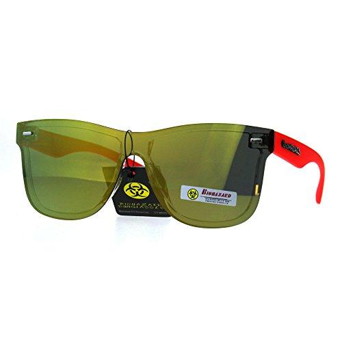 Biohazard Horn Rim Shield Hipster Rimless Plastic Skater Shade Sunglasses Red Orange (Skater Glasses)