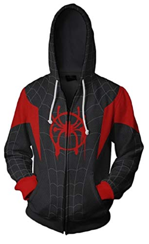 Riekinc Superhero Halloween Cosplay Costume Mens Hoodie Jacket Red/Black]()