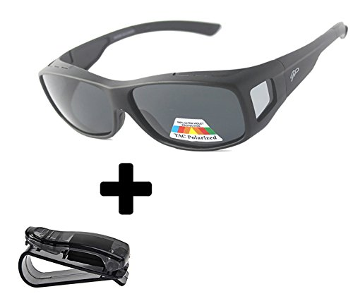 GREAT PICK Fitover Polarized Sunglasses to Wear Over Prescription Glasses + car clip holder