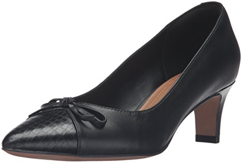 Clarks Women's Crewso Calica Dress Pump, Black Leather, 8.5 M US