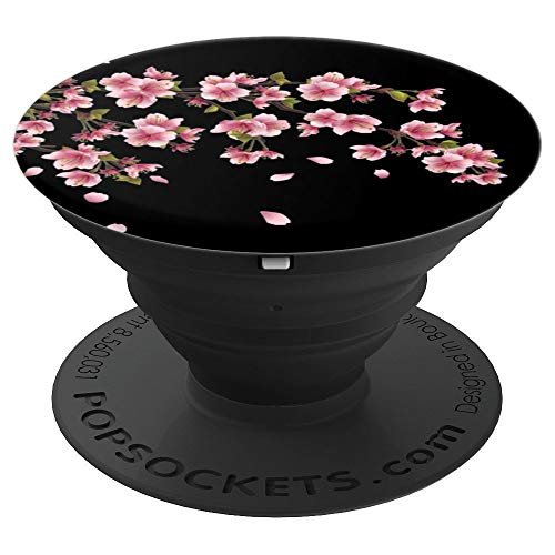 Black, Cherry Blossom Tree, Pink, Japanese Sakura Flowers - PopSockets Grip and Stand for Phones and Tablets