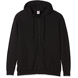 Fruit Of The Loom Mens Zip Through Hooded Sweatshirt / Hoodie (XXL) (Black)