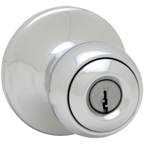 Kwikset 400P Security Series Polo Single Cylinder Keyed Entry Door Knobset, Polished (Polished Chrome Single Cylinder Entry)