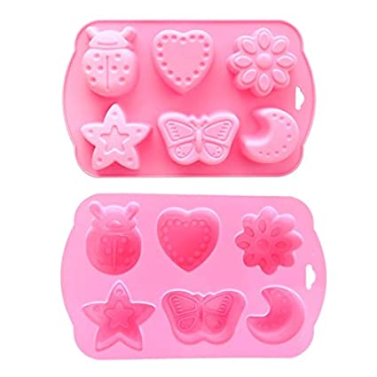 Best Quality Hah 6 Cavity Insects Butterfly Moon Star Shaped 3D Silicone Cake Fondant Chocolate Ice