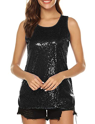 modase Womens 1920s Vintage Beaded Tops Art Deco Sleeveless Embellished Sparkly Sequin Vest Tank Top Black/XL ()