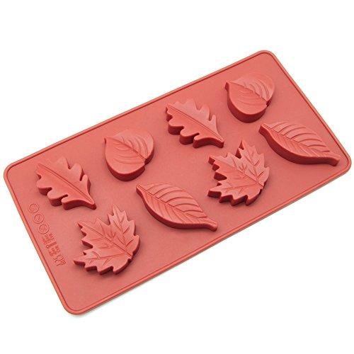 Pure Vie® 8er Silikon Backform / Muffinform für Muffins, Brownies, Cupcakes, Kuchen, Pudding, Eiswürfel und Gelee - Blatt