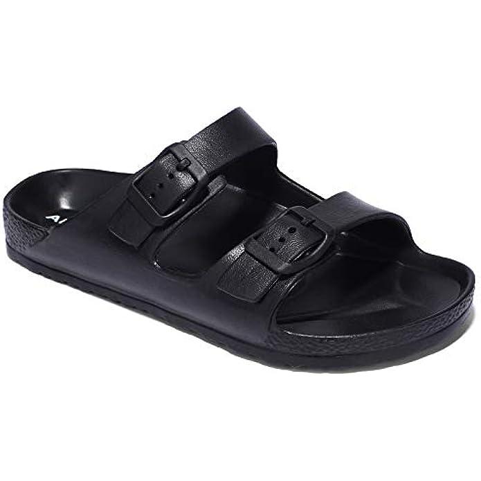 ANLUKE Kids Comfort Slides Soft Sandals with Adjustable Double Buckles Slip On Slide Sandal for Boys Girls