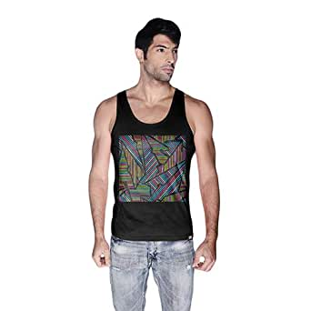 Creo Abstract 02 Retro Printed Tank Top For Men - S, Black