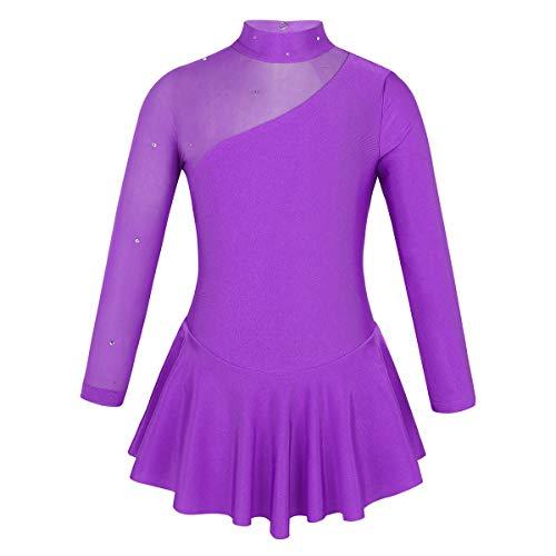 inlzdz Kids Girls Long Sleeves Roller Skating Dress Keyhole Back Ballet Dance Gymnastics Leotard Purple 6