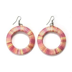 Idin pendientes hechos a mano - pendientes con rosa-amarillo hilo envuelto (los aproximadamente 7 cm)