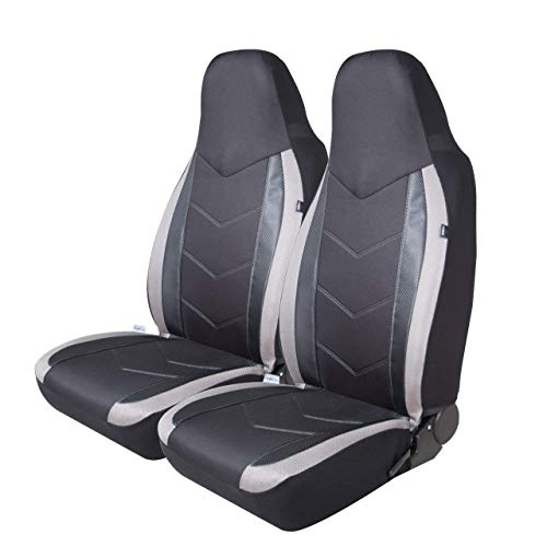 (PIC AUTO High Back Car Seat Covers - Sports Carbon Fibre Mesh Design, Universal Fit, Airbag Compatible (Gray))