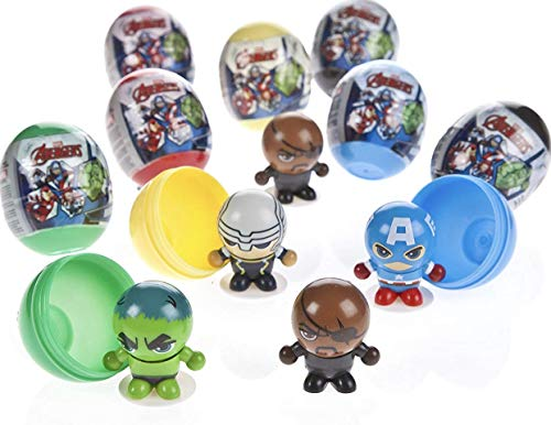 (Marvel Avengers Super Hero Figures Deluxe Party Favors Goody Bag Fillers 12 Set of Neat 3 in 1 Toys with Figures, Bounce Balls and switchable Heads with the Hulk,Thor)