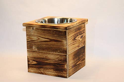 Elevated Extra Large Single Bowl Pet Feeder From Reclaimed Pallet Wood