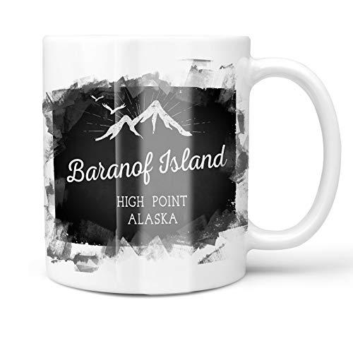 (Neonblond 11oz Coffee Mug Mountains chalkboard Baranof Island High Point - Alaska with your Custom Name)