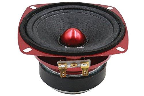 DS18 PRO-X4.4BM Loudspeaker - 4, Midrange, Red Aluminum Bullet, 200W Max, 100W RMS, 4 Ohms - Premium Quality Audio Door Speakers for Car or Truck Stereo Sound System (1 Speaker)