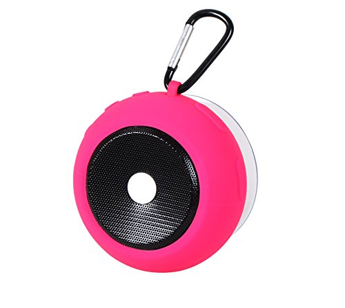 Ascar Waterproof Bluetooth Wireless Speaker | Portable Water Resistant Shower Speakerphone With Built-In Hook, Powerful Suction & Magnet | Ultimate Rechargeable Audio Soundbot (Pink)