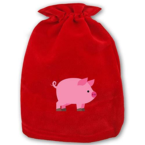 Christmas Drawstring Gift Bags Small Pig Icon Xmas Bag Mini Reusable Bags Bulk for Kids,Holiday Party Candy Favors