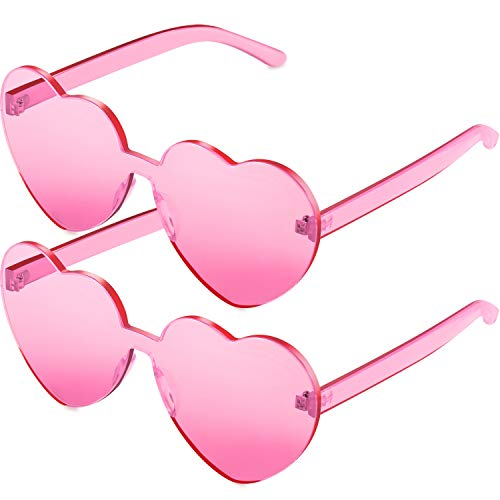 Light Pink Heart (Maxdot 2 Pack Heart Shape Sunglasses Party Sunglasses (Transparent)